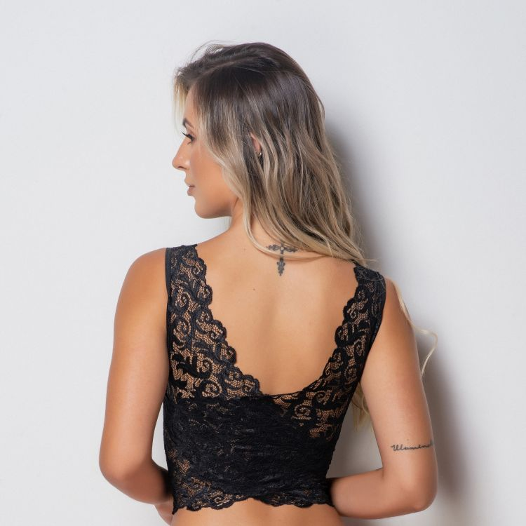 Top Cropped Versátil Renda
